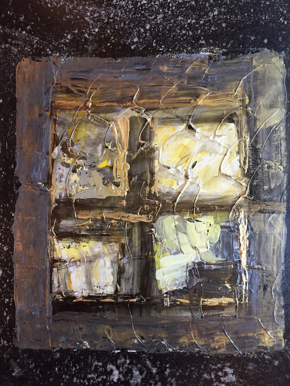 Window (weathered)<br/>19x11 (framed) acrylic on yupo