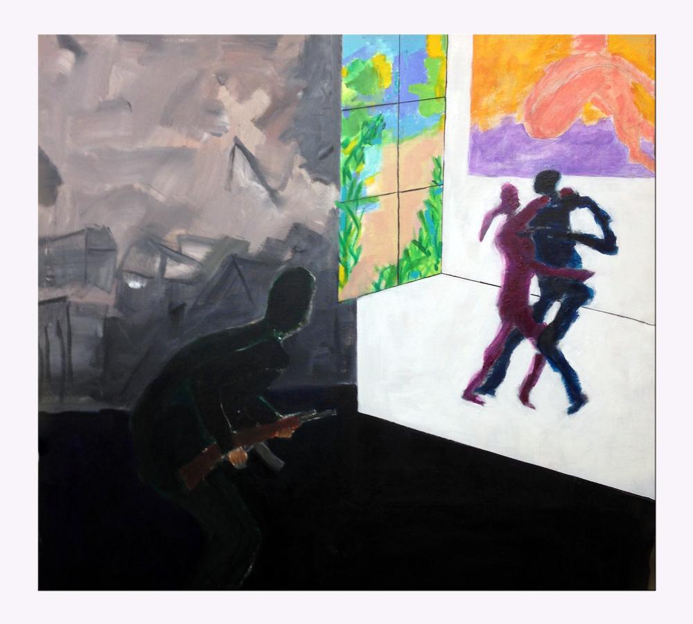 Terror<br/>36x36 acrylic on canvas