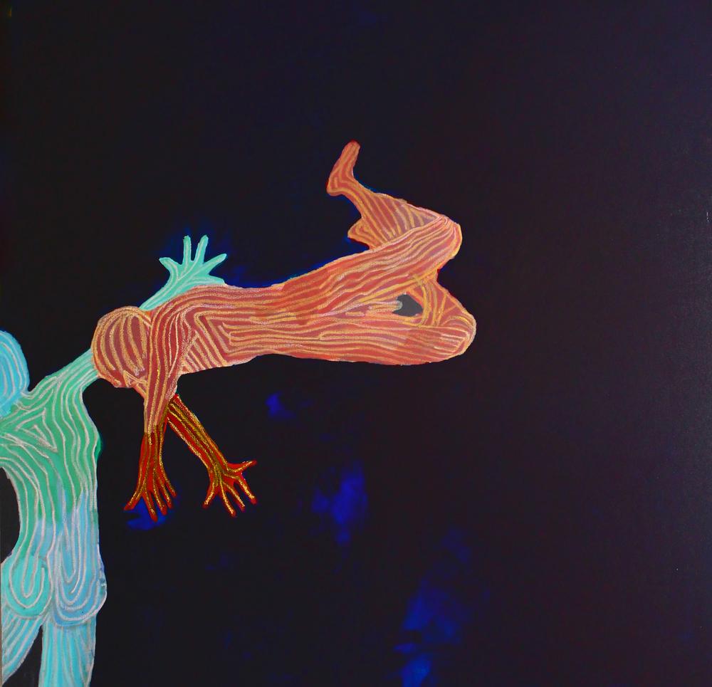 The Descent<br/>48x48 acrylic on canvas