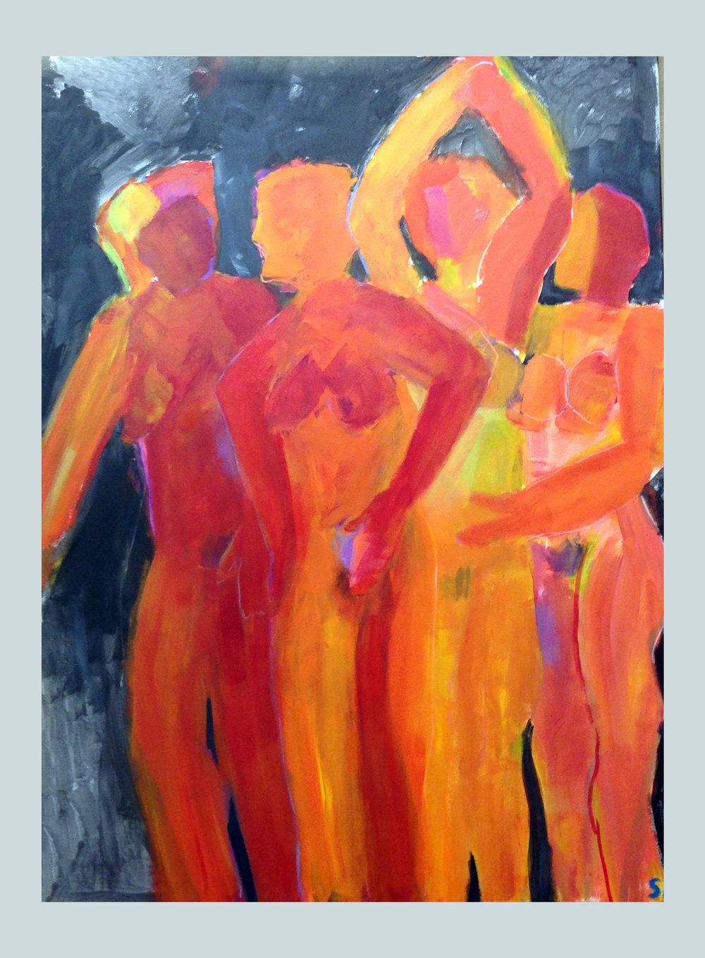 Demoiselles<br/>48 X 36 acrylic on canvas