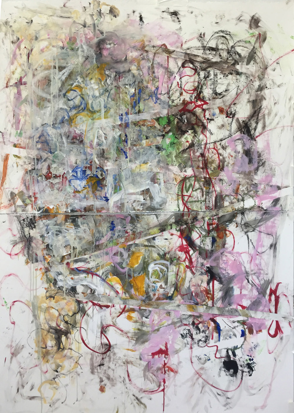 Over Easy<br/>44x60 mixed media on paper