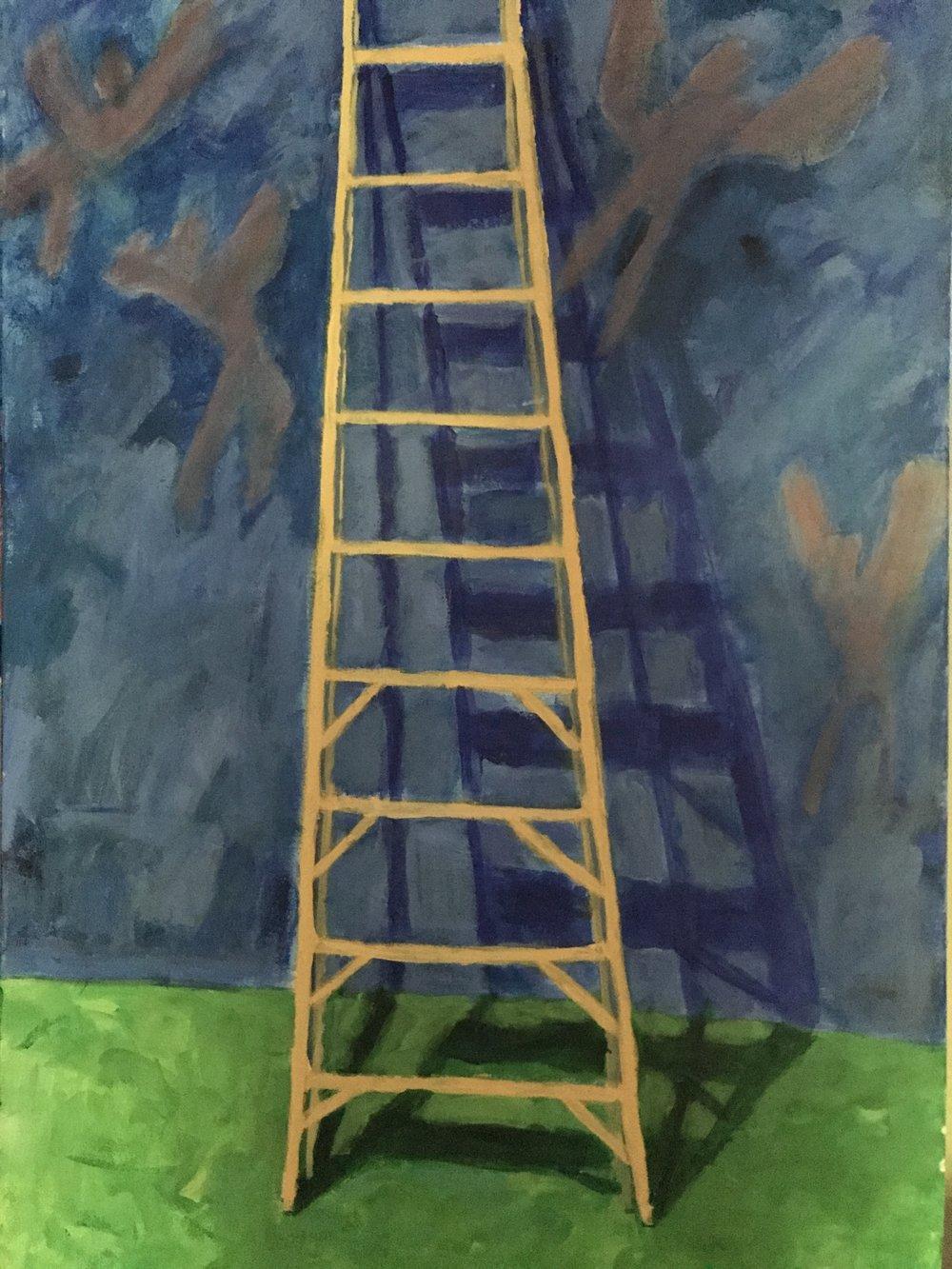 Angel Climbing the Shadow<br/>30x24 acrylic on canvas
