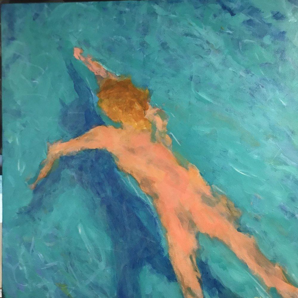 Skinny Dip #2<br/>24x24 acrylic on canvas
