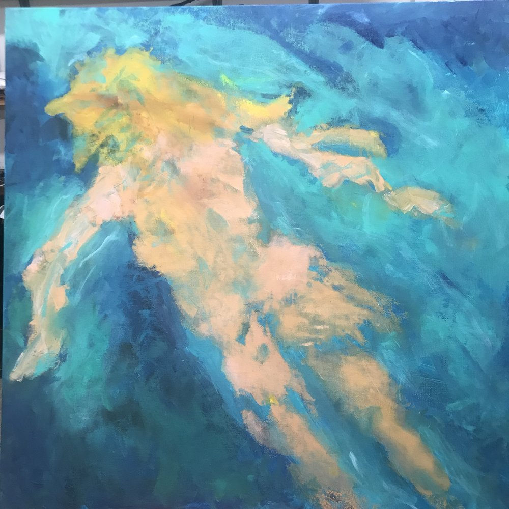 Skinny Dip #1<br/>36x36 acrylic on canvas