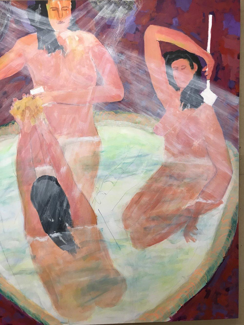 Splish Splash<br/>60x48 acrylic on canvas