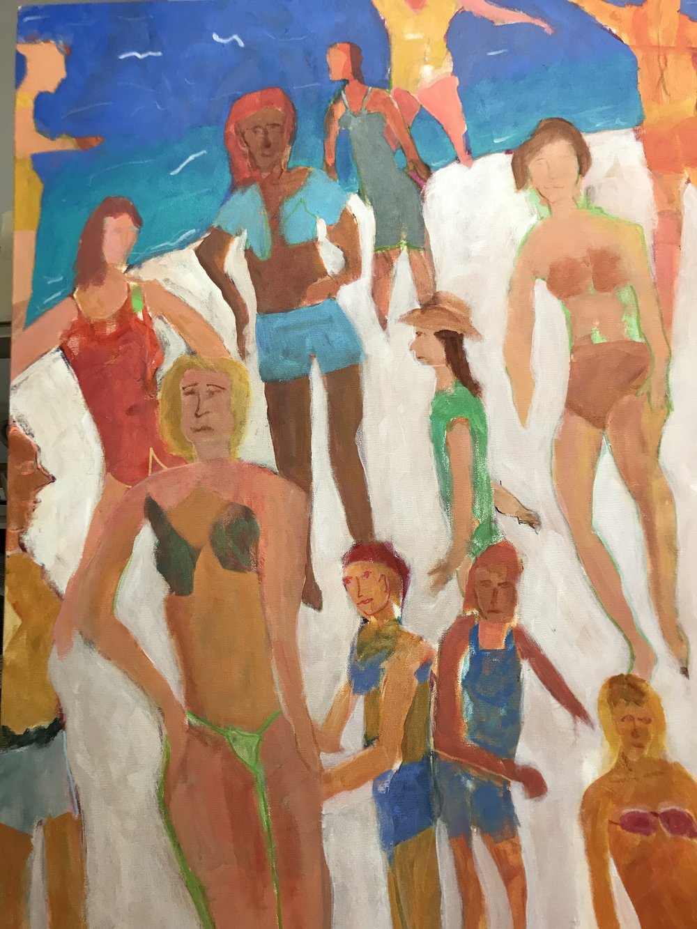 Sunday at the Beach<br/>40x30 acrylic on canvas