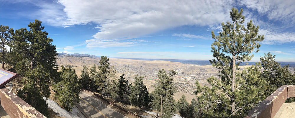 Lookout Mountain, just about 30 minutes outside of Downtown Denver. Great views of the city.