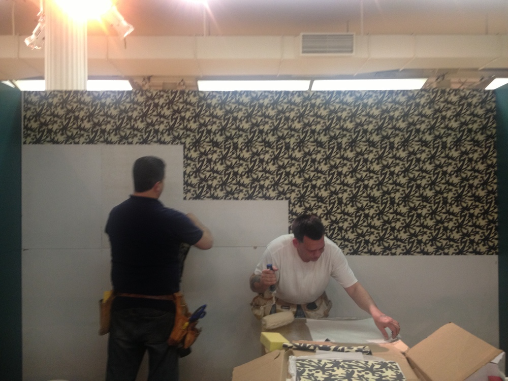 The glitz, the glamour… the process. My long time installer John Fasano came through. Installing this amazing AphroChic juju wallpaper square by square… (don't be scared if you love this paper. It normally comes in rolls)