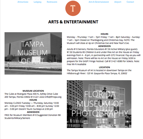 Tampa Website- A&E