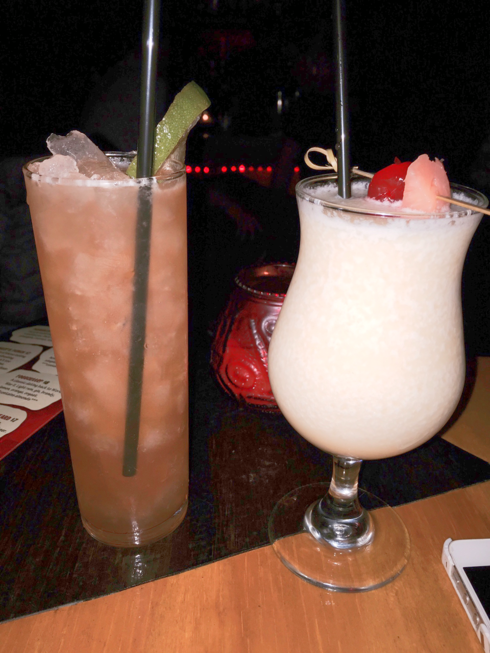 On the left, the Zombie Joe -- a drink so boozy, patrons are limited to one each. On the right, my favorite beverage on the menu: Honey I Caught Coladas.