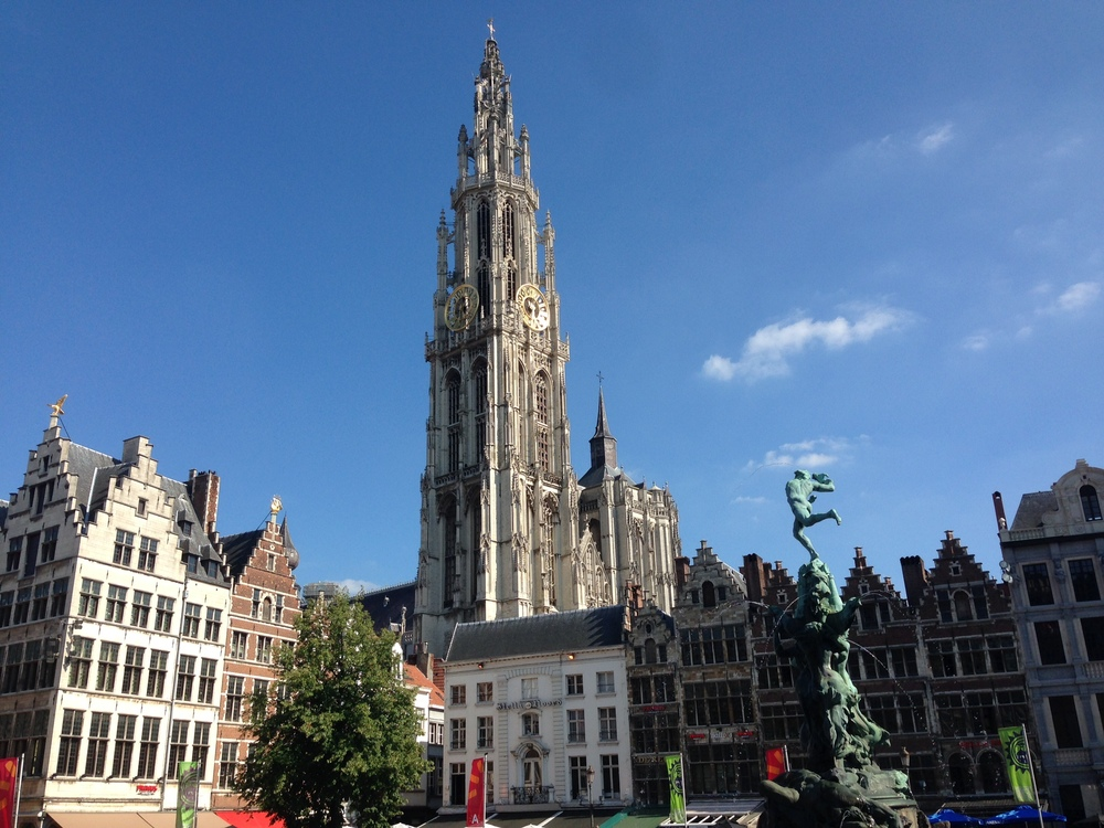 Antwerp's city center, with the impressive  Cathedral of Our Lady  in the background.