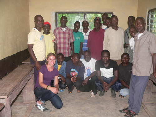 "With vegetable farmers after a training in a rural village affectionately known as ""Tomato Camp.""  ( Photo credit: Jennifer Majer)"