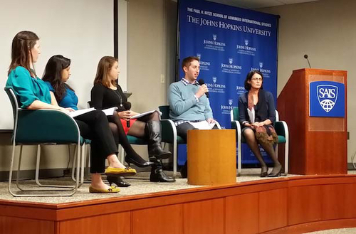 SAIS Perspectives 2014 Launch Event: Panel of authors speaking on their respective published articles.  From left: Amber Stewart, Seethal Kumar, Hilary Kinka, Mark Radin, and Professor Tanvi Nagpal