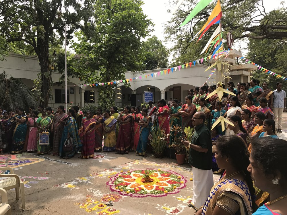 At the Institute of Public Health (IPH) in Poonamallee, nurses and staff participate in celebrations for the annual Pongal festival, celebrating the year's harvest.