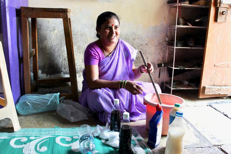 Supriya displays her home business.