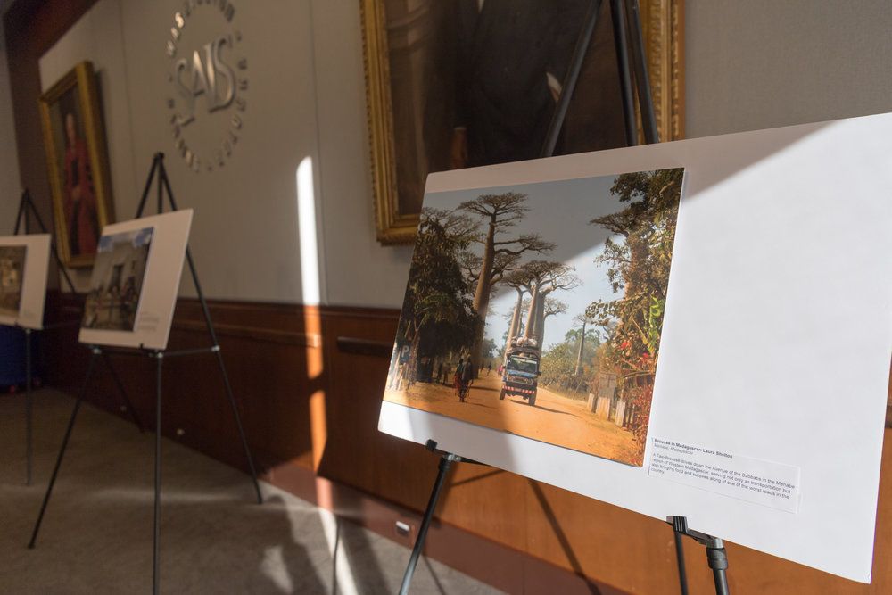 The winning photos from the  SAIS Perspectives  contest on display on the SAIS DC campus