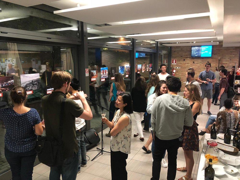 SAIS Bologna students enjoying the photo exhibition and reception