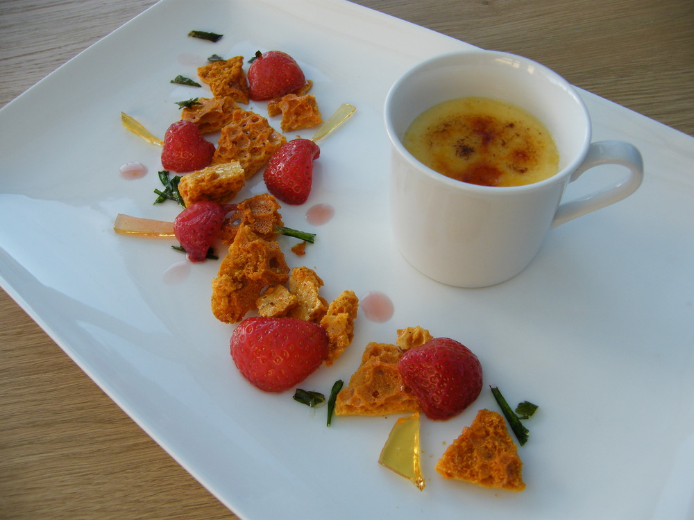 Strawberries with tarragon and black pepper honeycomb with burnt English cream surprise... my version