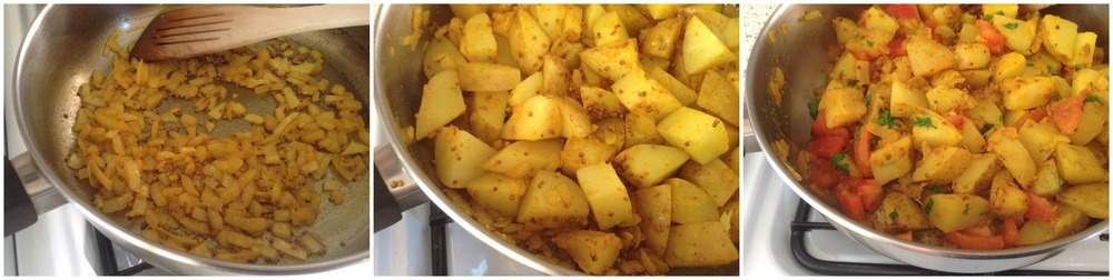 Mustard seeds, onion and turmeric... potatoes next... joined by tomatoes and coriander