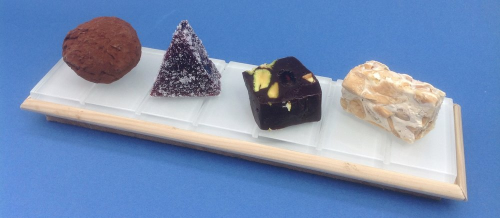 Salted Caramel and Peanut Truffles / Blackberry and Liquorice Jellies / Bitter Chocolate, Pistachio and Raisin Fudge / Nougat