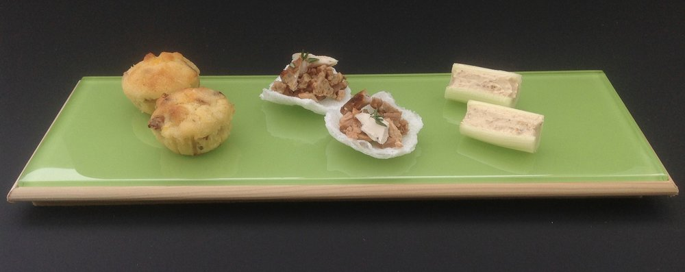 Smoked Bacon and Sweetcorn Mini Muffins / Roast Chicken Dinner Crackers / Celery and Curried Cheese Dip