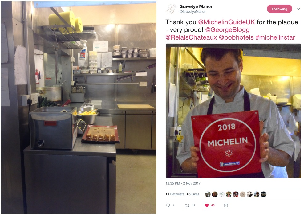Two days after my visit George Blogg proudly posed in the same place as I had taken one of my pictures. The Michelin Guide's plaque displaying star status for 2018 had just arrived.
