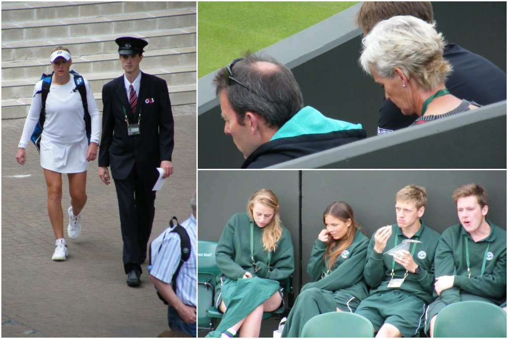 11:28 - Elena Baltacha's escorted arrival. Judy Murray (captain of the British Fed cup team at the time) and Jeremy Bates wait with interest and expectation. Slightly chilly, but chilled, ground staff galvanise for action.
