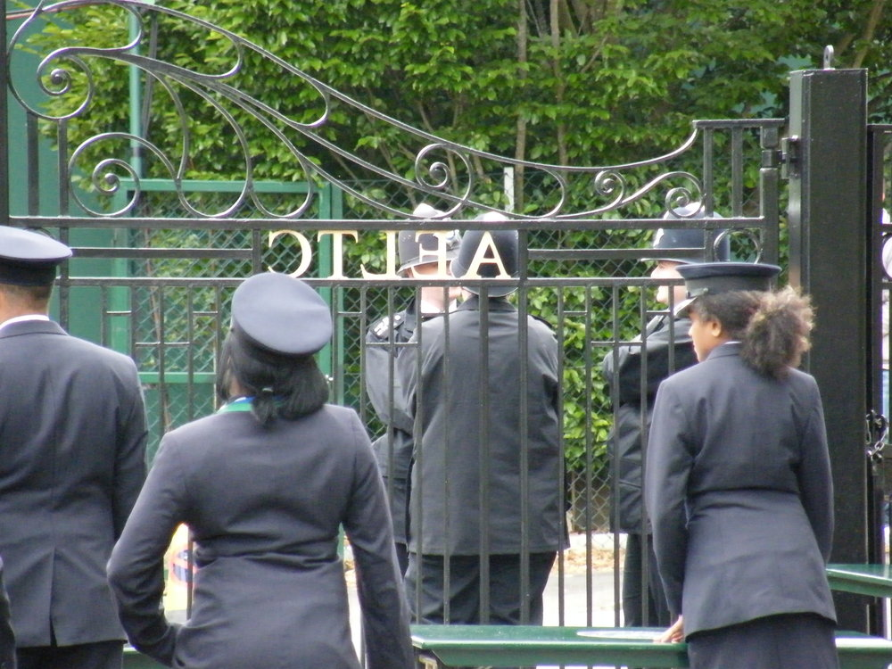 15:23 - Much security kerfuffle at the gates as someone points out that the All England Lawn Tennis Club's initials have been installed backwards.