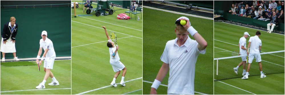 Powerful serves. Edmund already practising the Murray cap shift. Handshake and off at 14:38.