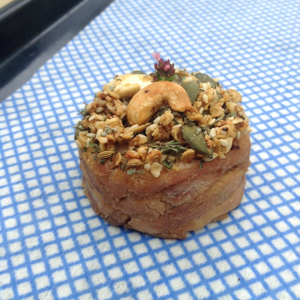 Main  Chicken Leg Confit with Savoury Granola (detail before plating)