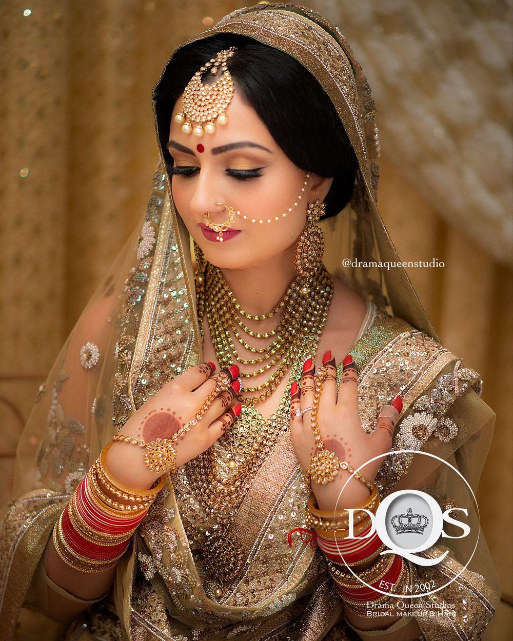 Komal on her wedding morning.  Makeup, Hair, & Dressing Drama Queen Studios: Master Artists Kiran Purewal, Assited By Kelly K