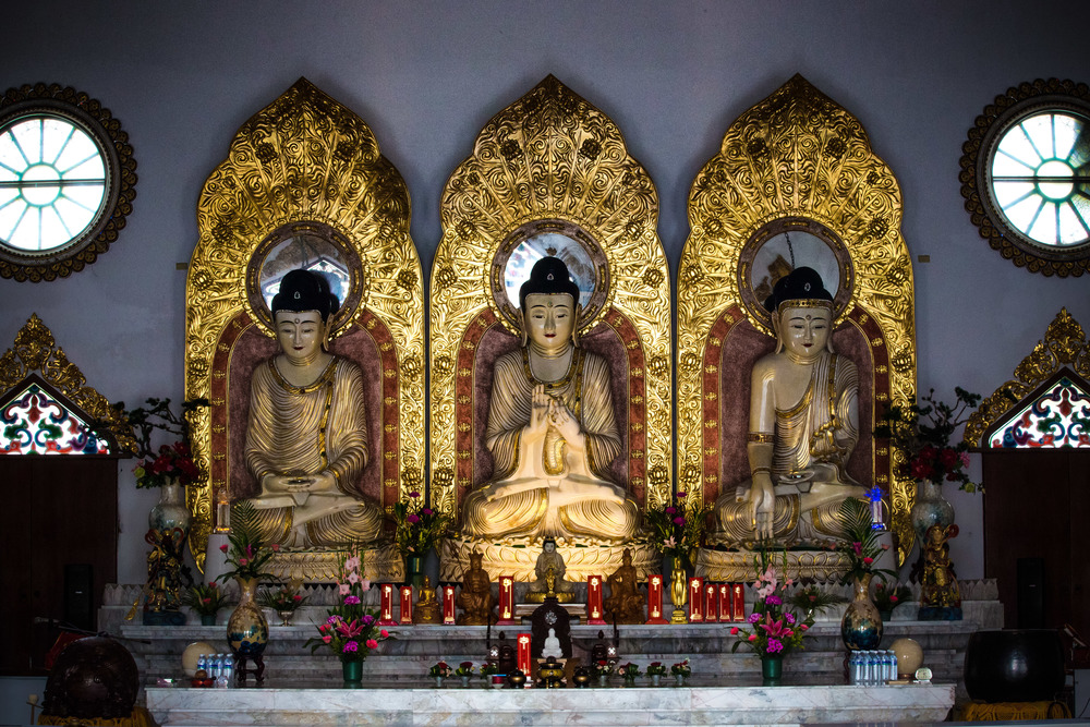 (Left-Right) Medicine Buddha, the Buddha, Amitabha
