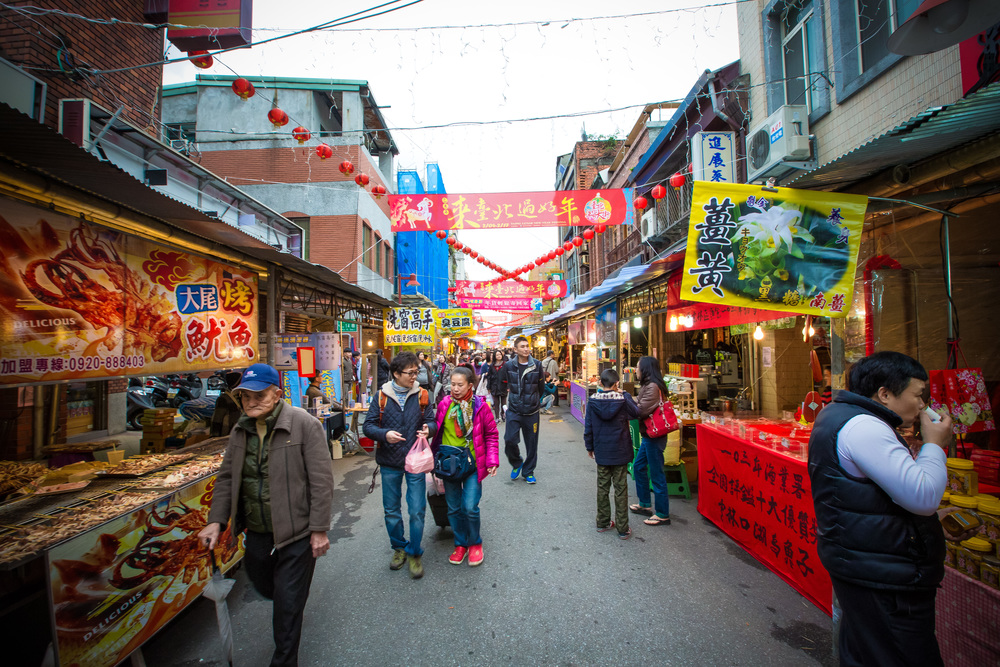 Shoppers on the first day of business on Dihua Street's Lunar New Year Market
