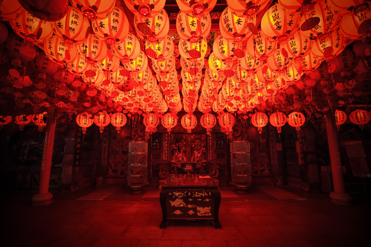 Lanterns at a temple (月眉山觀音寺) dedicated to the goddess Guan-Yin near  Daxi Old Street  (大溪老街)