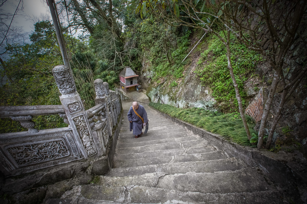 A Buddhist nun walking up the long set of stairs to her monastery.