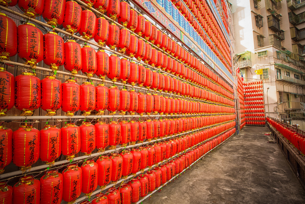 Lanterns on the outside of the temple