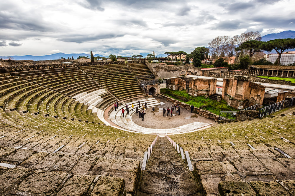 Tourists in Pompeii's Theatre