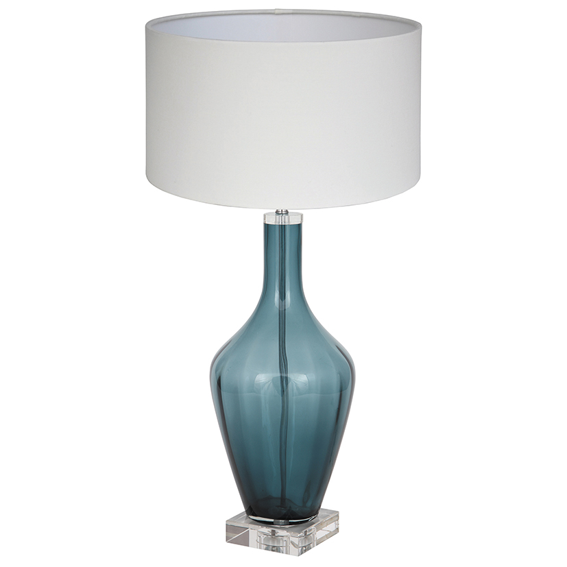 Teal Glass Lamp €200.50  20x20x53cm     PL