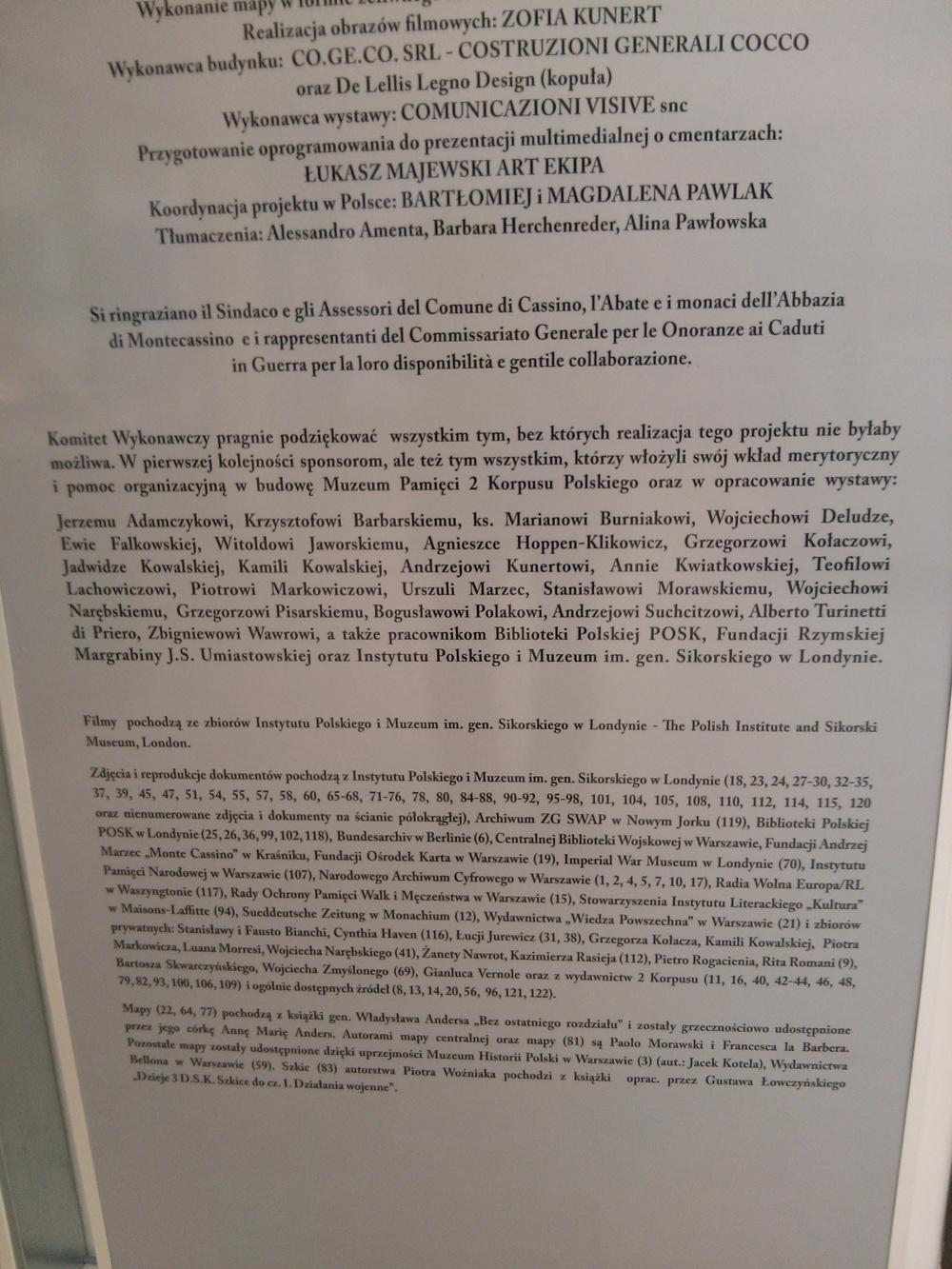 Pannello presso Cimitero Guerra Polacco a Montecassino
