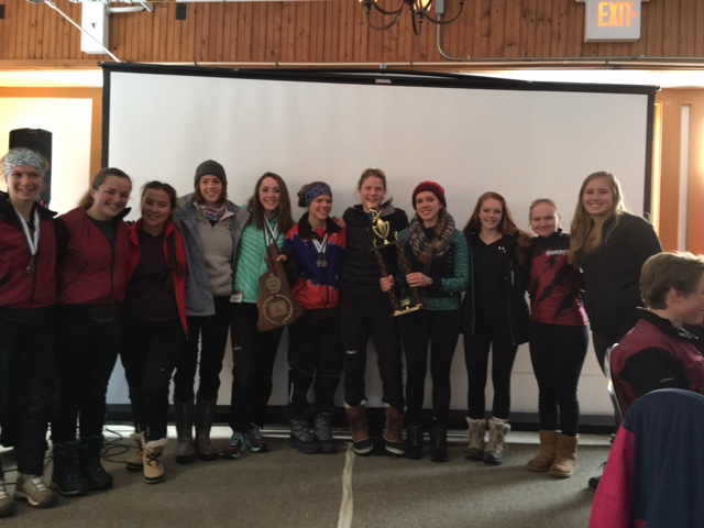 Concord Girls Team is awarded the 2016 Sibley Trophy for their combined score of 39 points at the NH Coaches Series Race at Bretton Woods, NH.