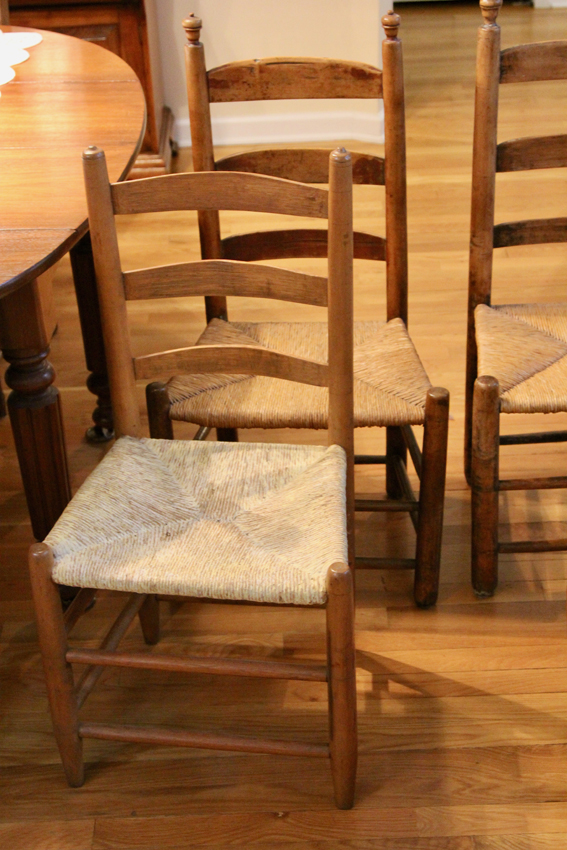 2 Pairs of Antique Ladder Back Chairs with Rush Seats - 2 Pairs Of Antique Ladder Back Chairs With Rush Seats — Simply Estated