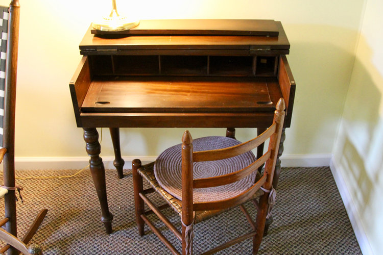 Spinet Desk & Antique Chair - Spinet Desk & Antique Chair — Simply Estated