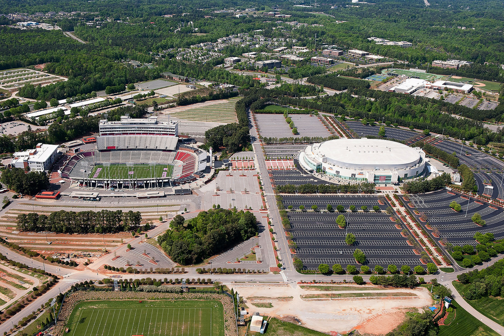 Aerial View of Carter-Finley Stadium and PNC Arena
