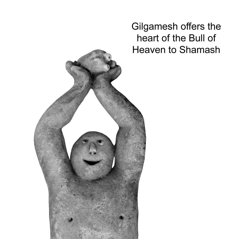 Gilgamesh offering the Heart of the Bull of Heaven to Shamesh.jpg