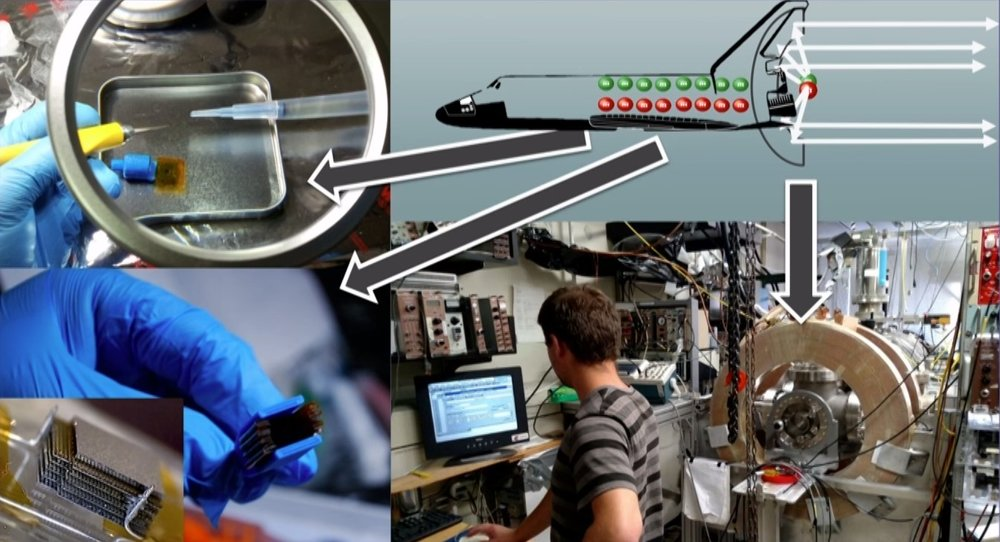 Image of radioisotope source, moderator array, and nuclear reaction process used to propel a rocket forward (concept)