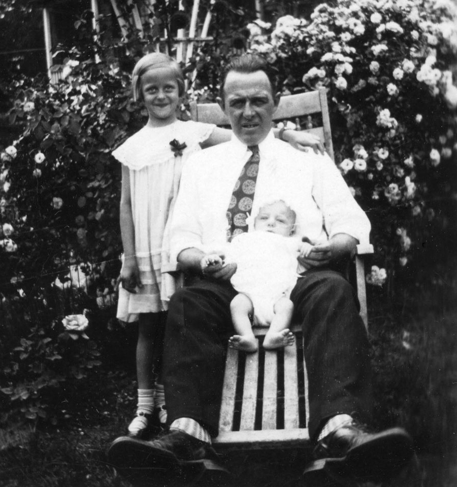 Charles Henry Volkman with his children Anna Corrine and Charles at their 3548 T Street home, 1931. Courtesy of Charles and Jutta Volkman.
