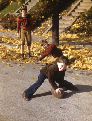 Boys playing football in S Street, early 1940s. Courtesy of Myles Johnson.