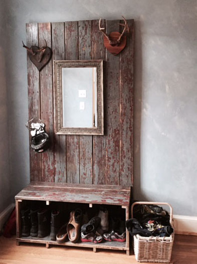 topher transformed the old painted wood from his front porch (below) into this entryway console. Photos by topher paterno.