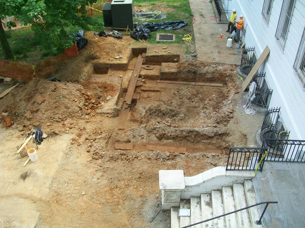 As part of its investigation, Stantec dug many excavation units which uncovered part of the foundation (above) of the eastern façade of the second Cedars and a patio area.