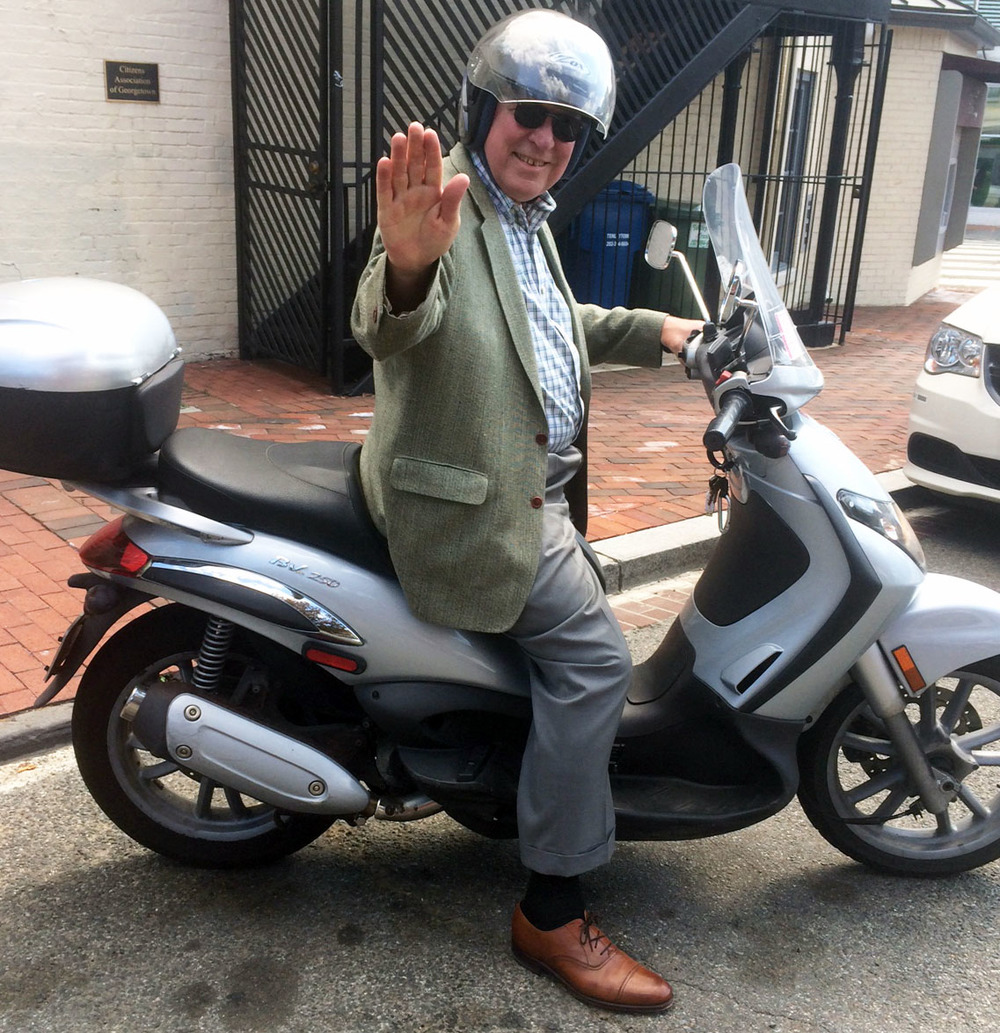 local stalwart Bob vom eigen and his motorbike are a well-known sight around town.